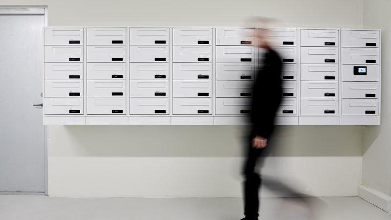 myRENZbox e-Line elektornisk postkasseanlæg og pakkeanlæg, Jessens Mole i Svendborg